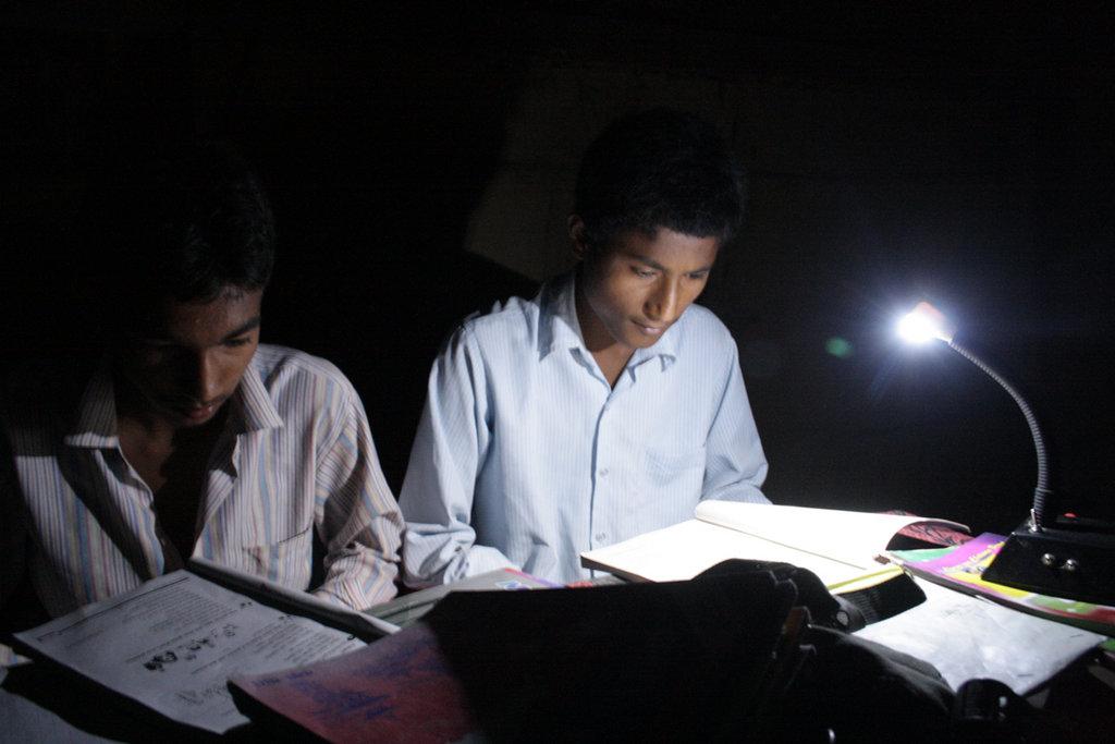 Students using solar tuki for their study