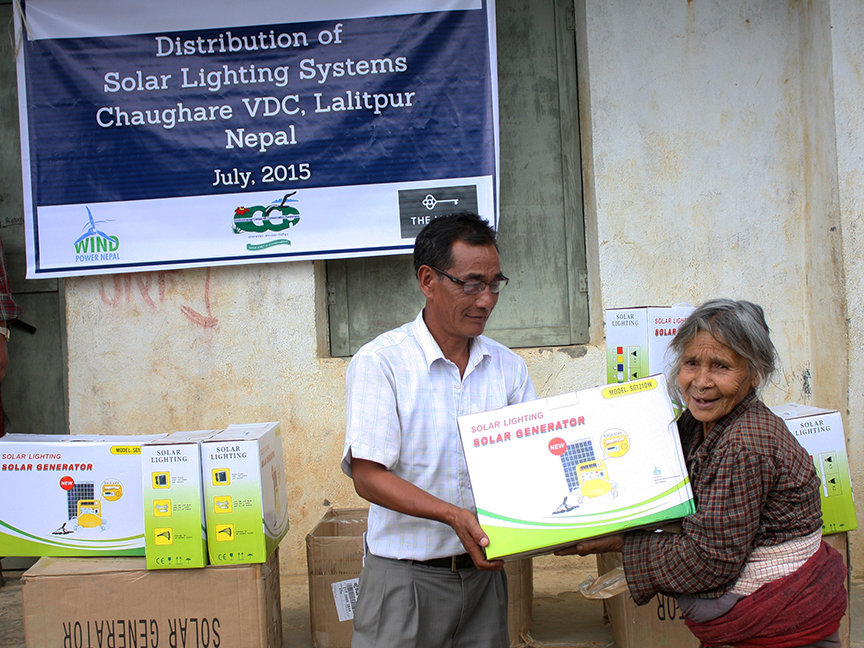 Old aged family receiving Solar Light