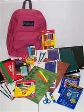 Example of backpack and school supplies