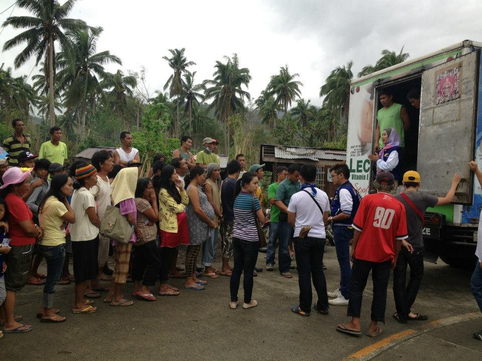 Lining up at relief truck