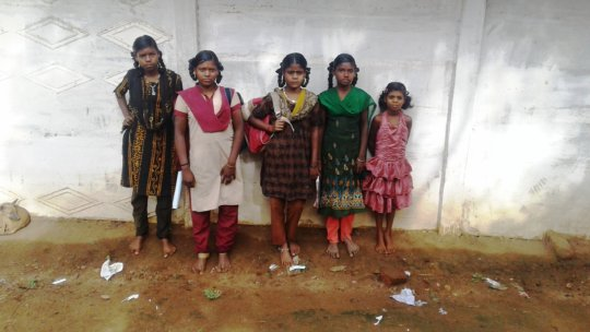 A group of beneficiary tribe girl