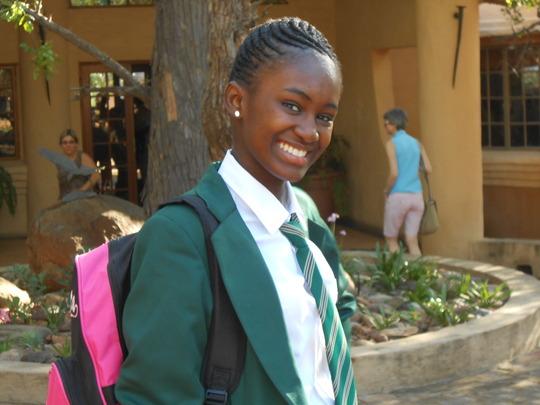 Grace in her new school uniform, proud!