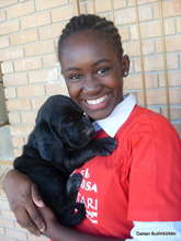 Grace with one of Daktari's dogs.