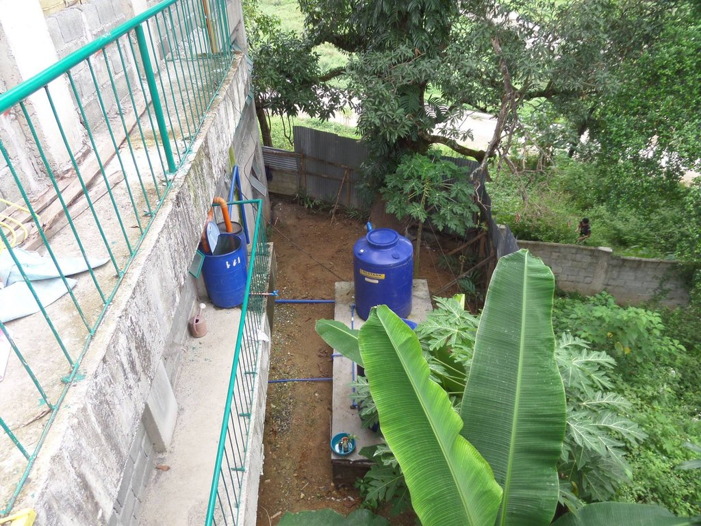 A rainwater harvesting system now stores 650 gls