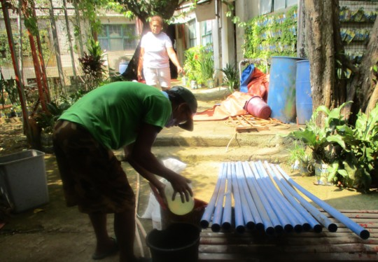 The poles being manufactured
