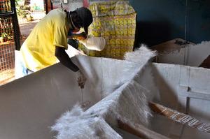 Volunteer boat builder Dirssa working!