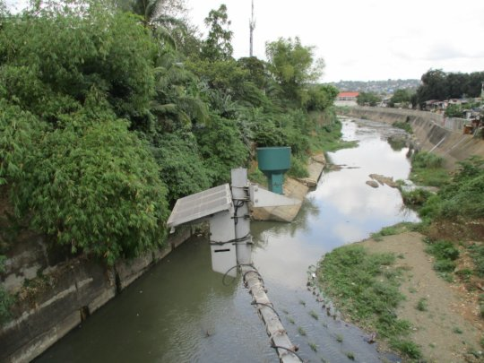 A local waterway which floods regularly