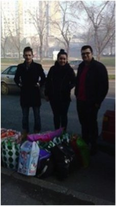 students with collected donations