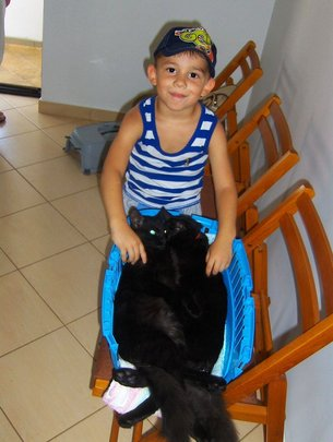young boy and his kitties, Miroslava