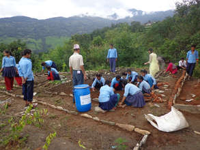 Students working for Herbal Garden Development