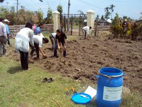 Students in Preparation of Herbal Garden in School