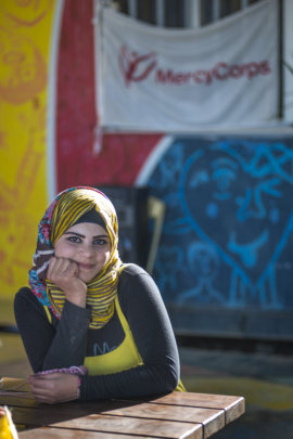 A Syrian refugee at a Mercy Corps youth center