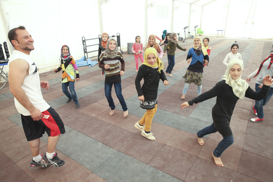 children play at Za'atari youth center
