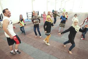 children play at Za'atari youth center