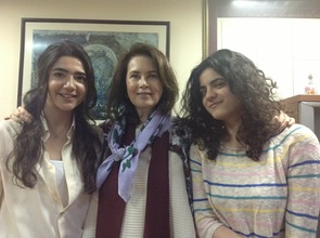 Dayle Haddon, meeting with scholarship recipients