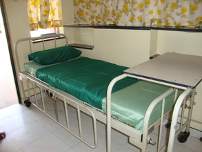 Ward bed with new bedsheet set
