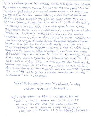 Letter from Adelaida