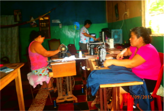 Using pedal sewing machines(front)&ironing(back)