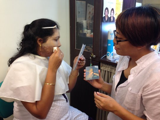 Anandhi practices skin camouflage techniques