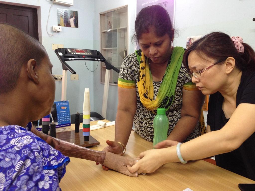Examining hands
