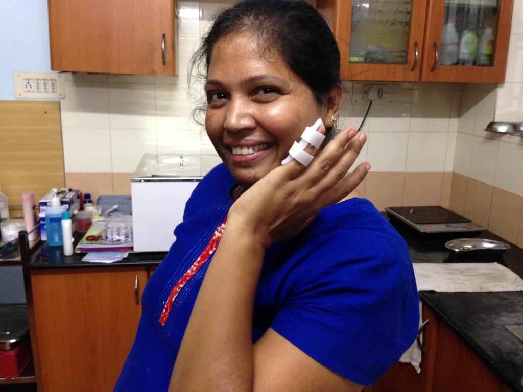 Finger splint made by PCVC staff