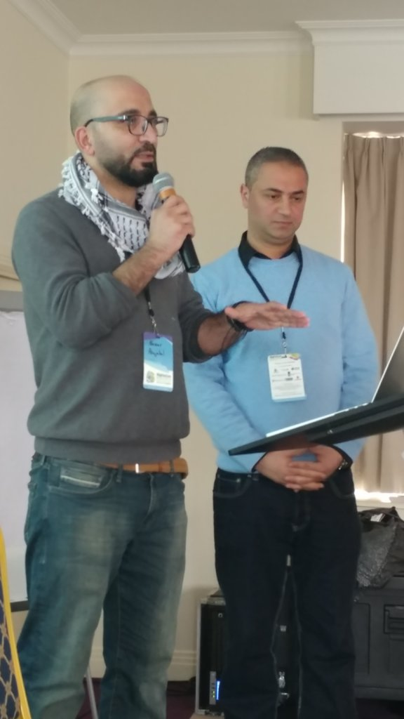 Nassar and Jamal from MoLG presenting at RightsCon