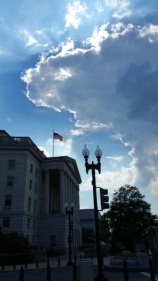 A silver lining, a US flag