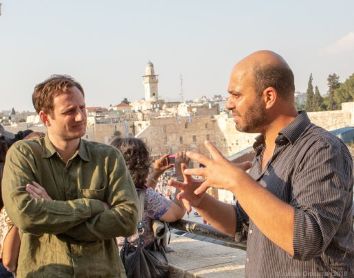 Itamar and Zach talk in the Old City
