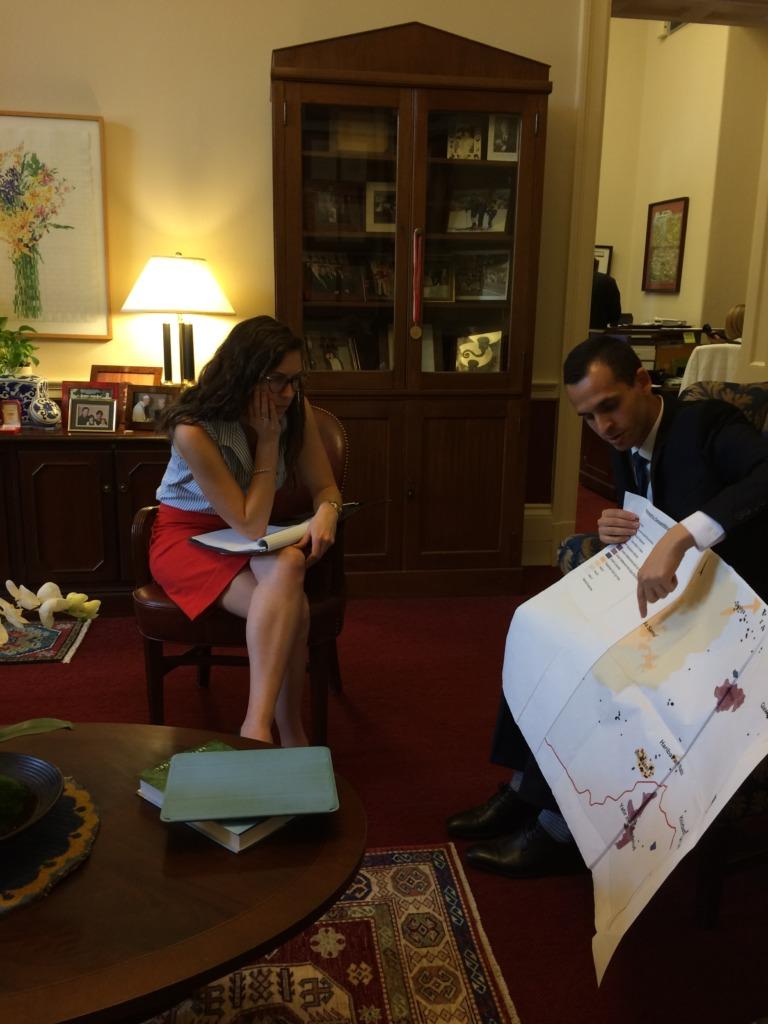 Dr. El-Atrash explains a map of the West Bank