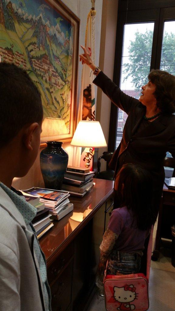 Senator Feinstein in a quiet moment in her office