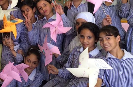 May 2016: Issawiya Girls School made Pinwheels