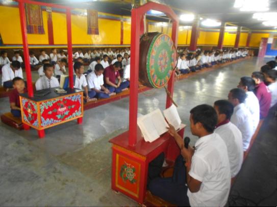 Students at morning prayer