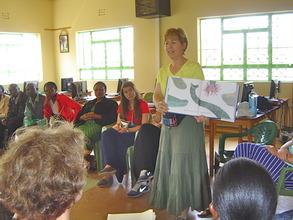 Jean leads a workshop on reading