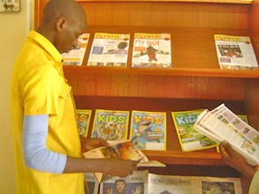 Sampling magazines dispalyed on a magazine rack