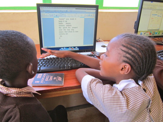 Wamunyu Junior Academy students at the LRC