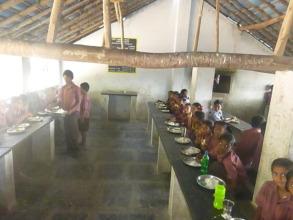 Children are having lunch.