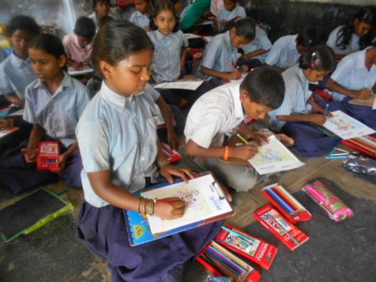 Children are doing homework