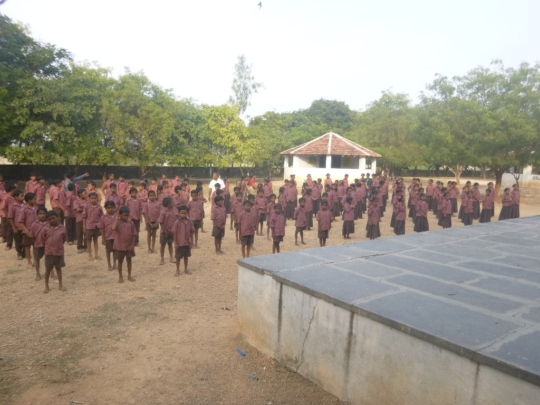 Children performing morning prayer
