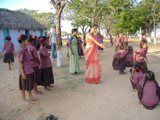 Girl children enjoying games