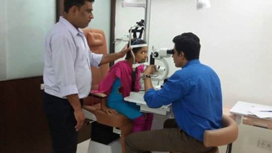 having an eye check-up