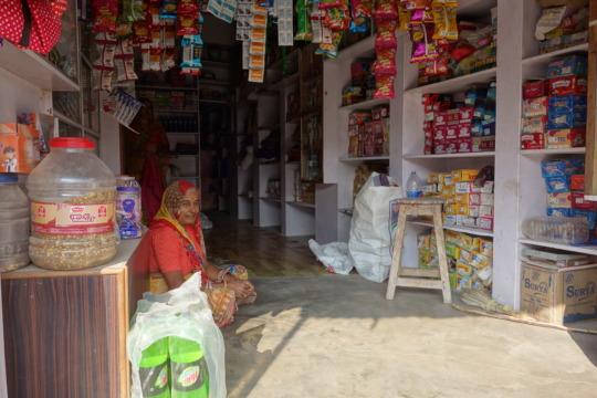 Herpayar Khatri with her shop