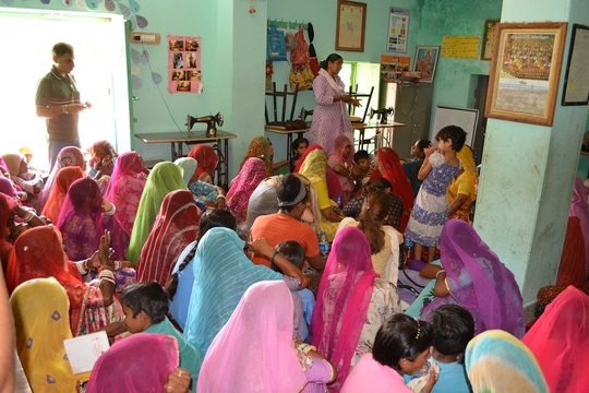 Manju Mehta with the Sheerni women