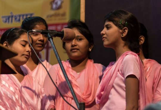 Boarding Home girls singing in the Competition