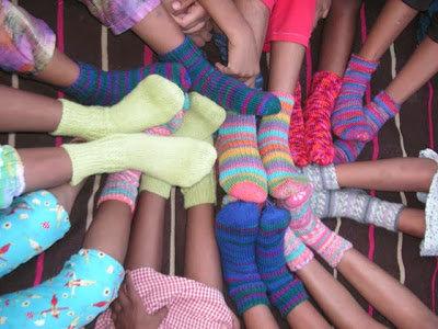 Knitted socks for the girls!