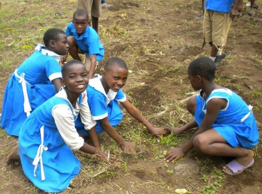 School pupils working at GBPS Bonduma Village
