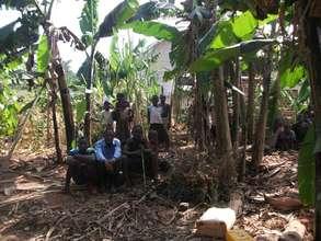 kids peeping through the banana trees