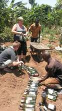making raised beds from recycled bottles 3