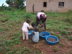 A local volunteer planting seed cups with children