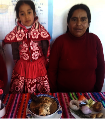 Adriana with her mother in her home