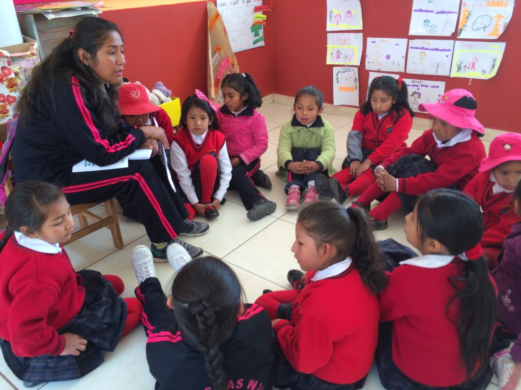 4 y/o Kindergarten girls interacting with a story
